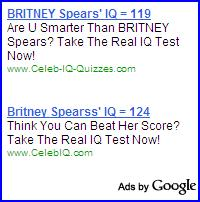 Two ads for celebrity IQ tests reporting different results.