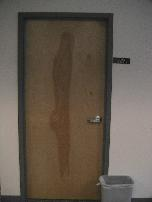 Office door with human figure