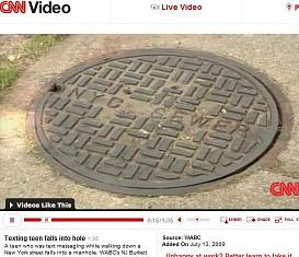 Caption of CNN story about a girl falling into an open manhole.