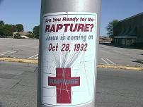 Poster:  The Rapture.  Jesus is coming, October 28, 1992.