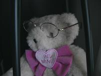Teddy bear wearing glasses